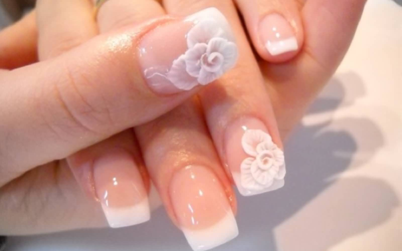 3d Flowers And French Tip Design Wedding Nail Art