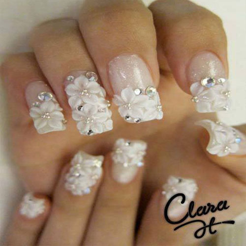 3d Flowers Beautiful Wedding Nail Art Design