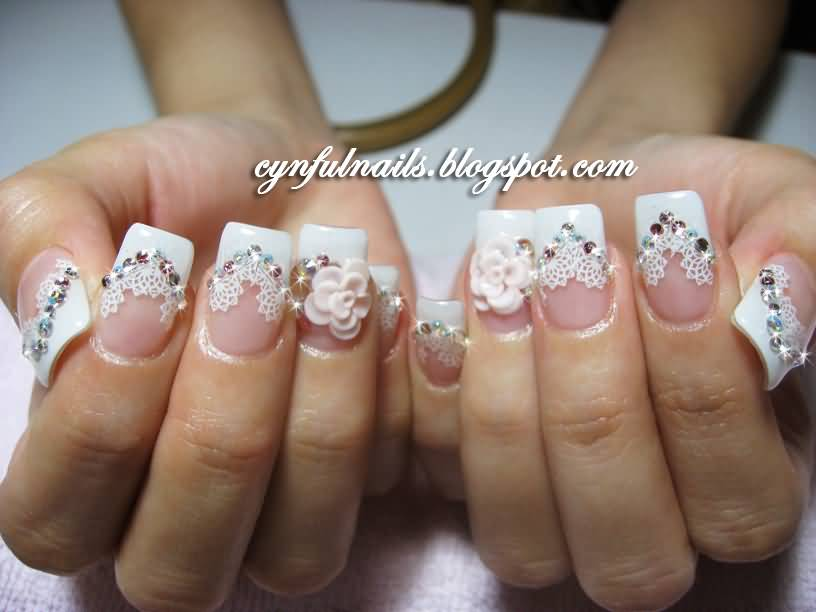 3d Rose Flower And Lace Design Wedding Nail Art