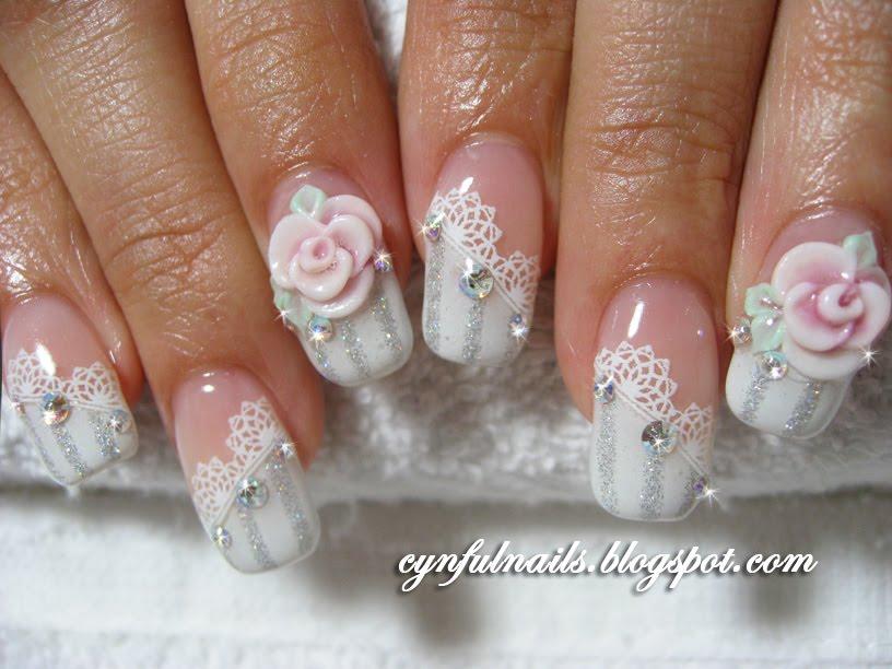 55 cool wedding nail art design ideas 3d rose flowers and lace design wedding nail art prinsesfo Choice Image