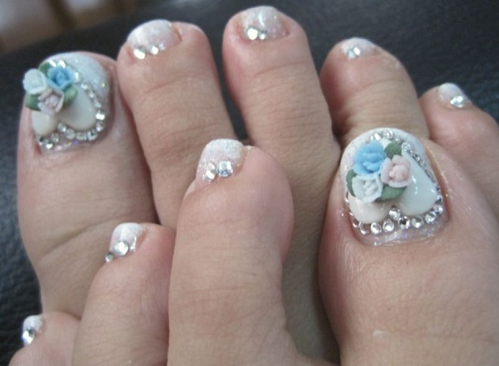3d Rose Flowers Wedding Toe Nail Art
