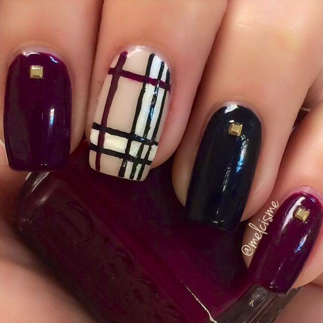 Accent Burberry Nail Art Design Idea