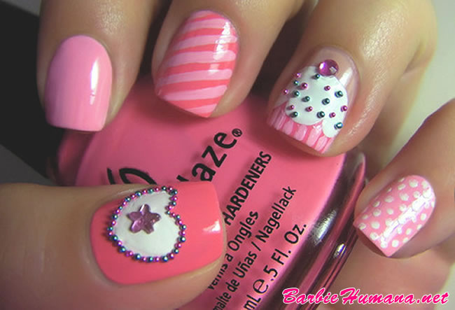 Accent Cupcake Nail Art With Caviar Beads Heart Design