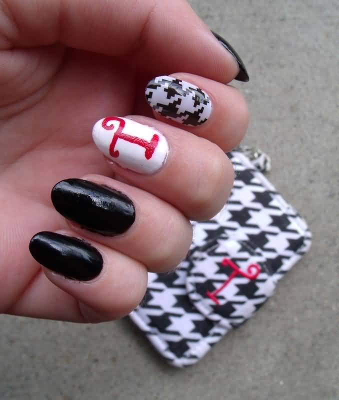 46+ Latest Houndstooth Nail Art Design Ideas