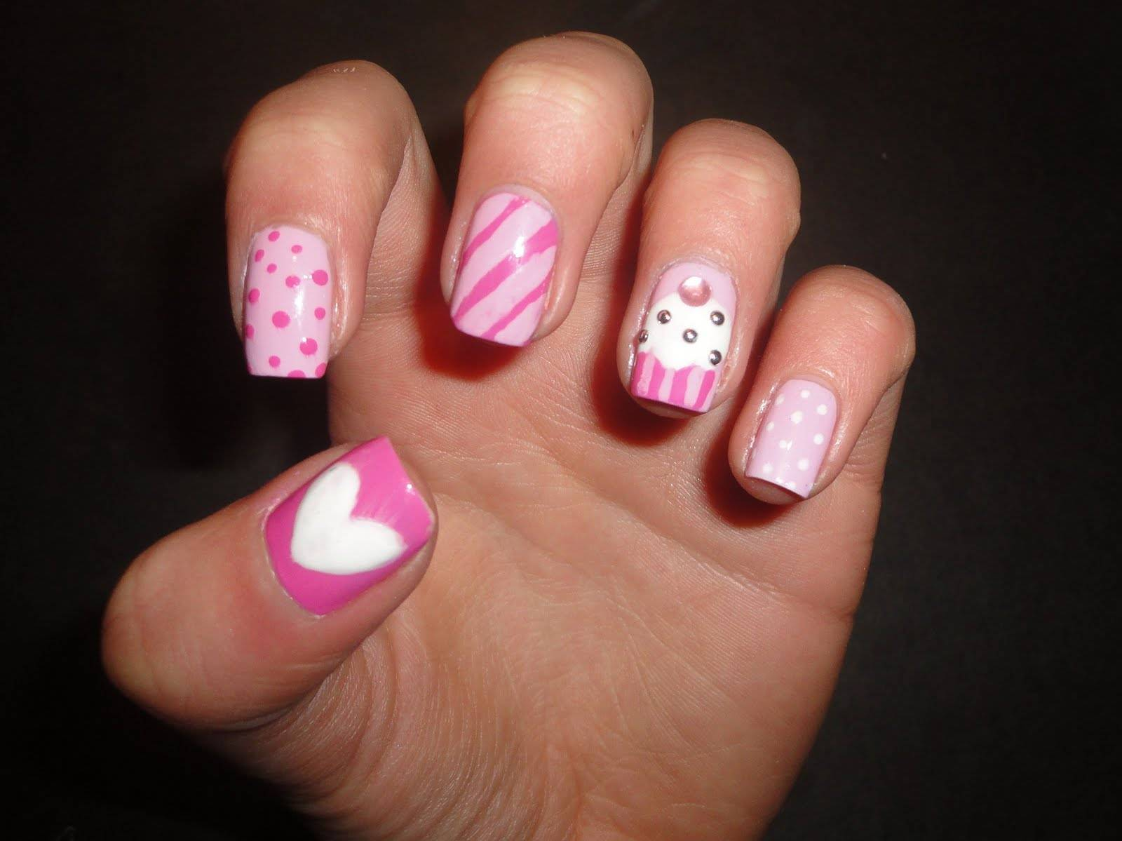 Accent Pink Cupcake Nail Art With Rhinestones