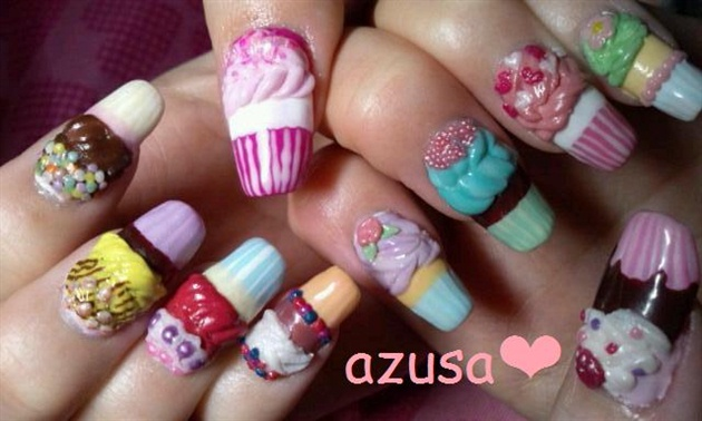 13+ Most Stylish 3D Cupcake Nail Art Design Ideas For ...