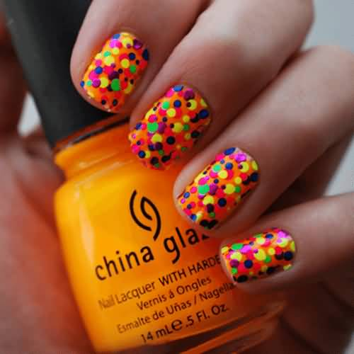 Adorable Neon Polka Dots Nail Art Design