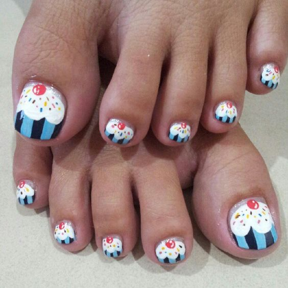 8 cute cupcake nail art design for toe nails amazing blue cupcake nail design for toe nails prinsesfo Image collections