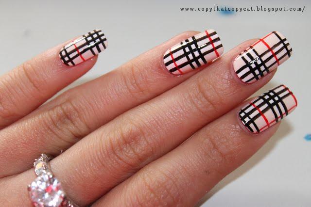 Amazing Burberry Nail Art Design