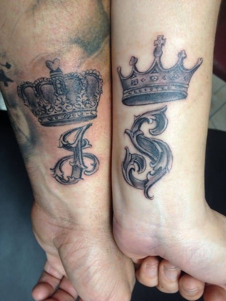 25 beautiful crown matching tattoos for Crown couple tattoos