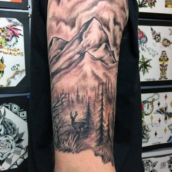 e7b96e81d Amazing Deer And Mountains Trees Tattoo On Half Sleeve