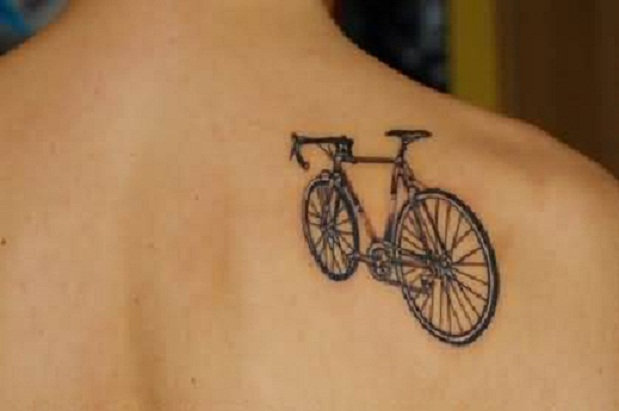 cool and tiny cycle tattoo on nape. Black Bedroom Furniture Sets. Home Design Ideas