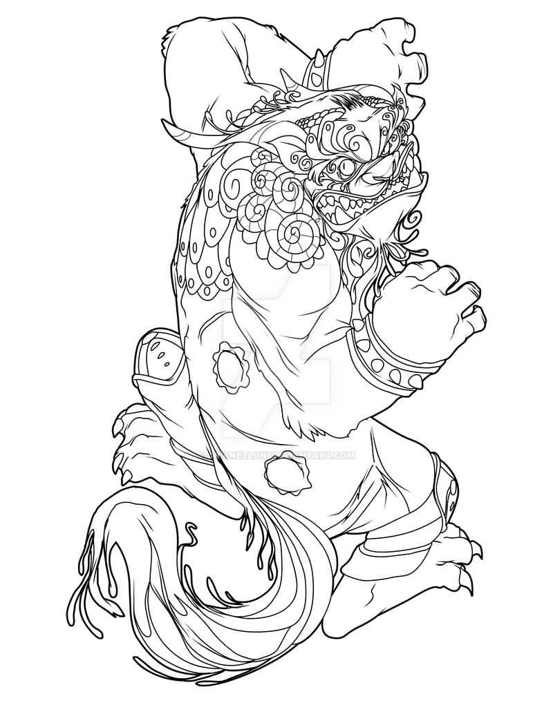 Awesome Black Outline Foo Dog Tattoo Design