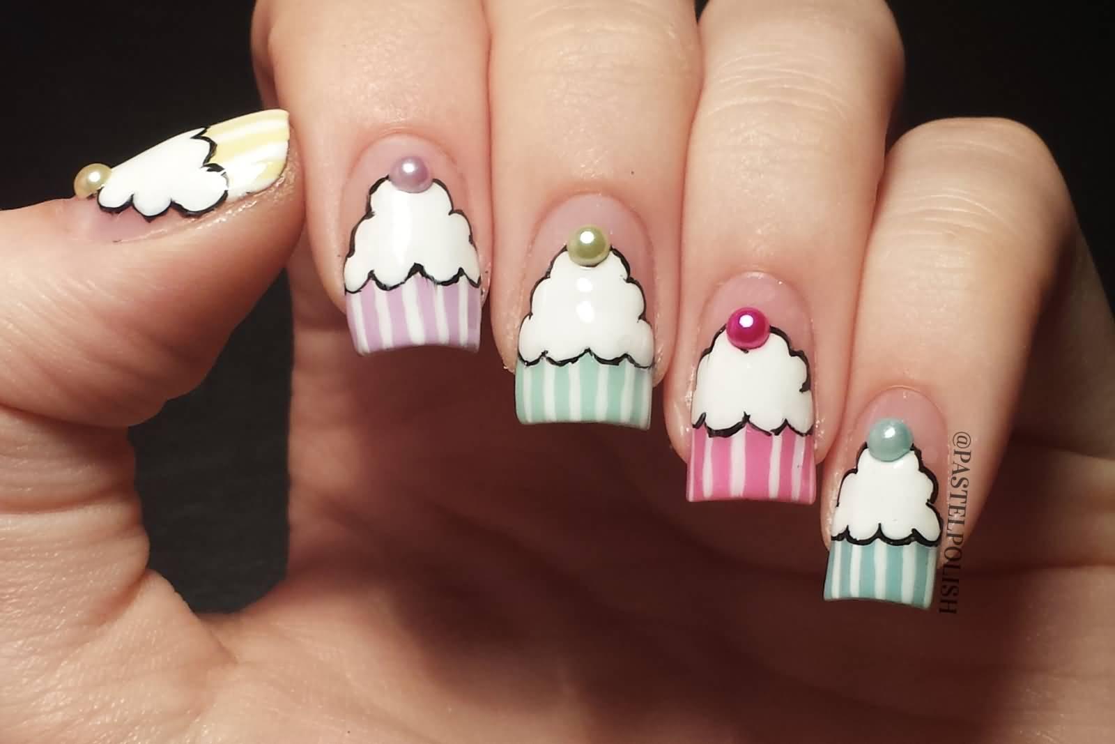 51 wonderful cupcake nail art design ideas for girls awesome cupcake nail art design prinsesfo Gallery