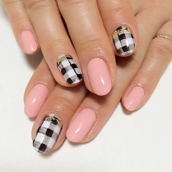 Black White Pink Nail Art Designs: 55 Most Beautiful Black Nail Art Designs