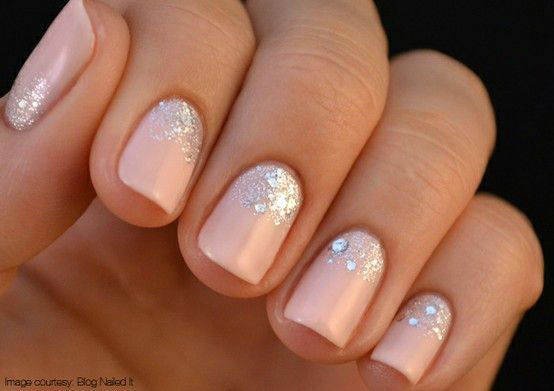 Baby Pink Nails With Reverse French Tip Glitter Wedding Nail Art