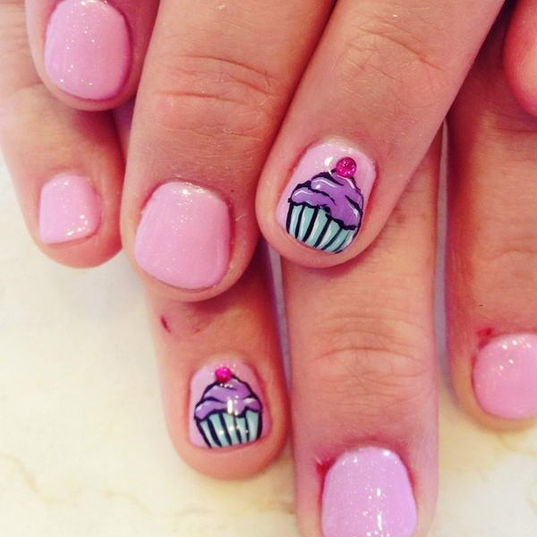 35 cute cupcake nail art design ideas for trendy girls baby pink short nails with cupcake nail design prinsesfo Image collections