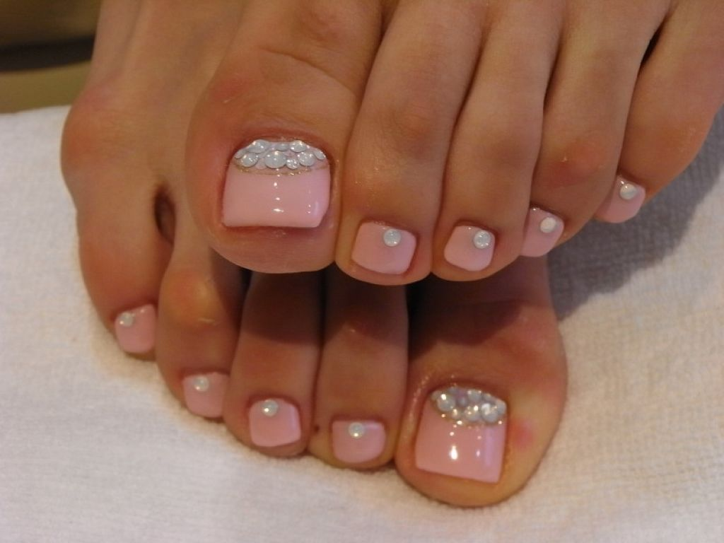 Baby Pink Toe Nails With Rhinestones Design Wedding Nail Art