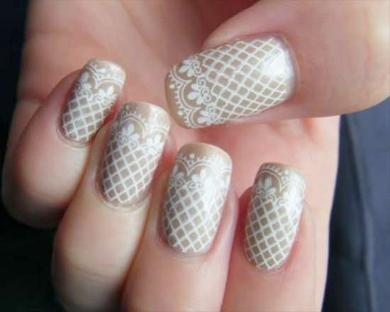 Beautiful Lace Design Wedding Nail Art