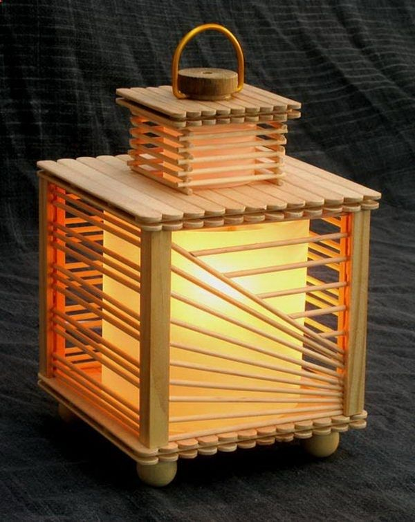 Ice Cream Stick Craft House Beautiful Lamp Made From Popsicle Sticks