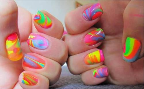Beautiful Neon Color Water Marble Nail Art Design Idea