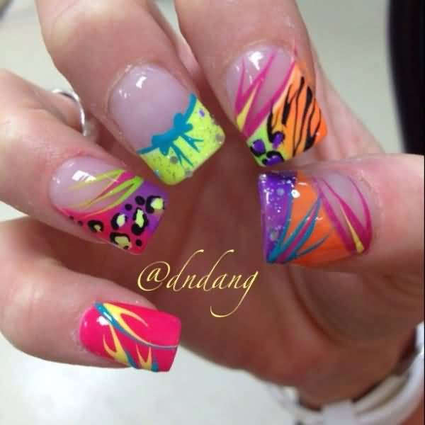 Beautiful Neon Nail Art Design Idea