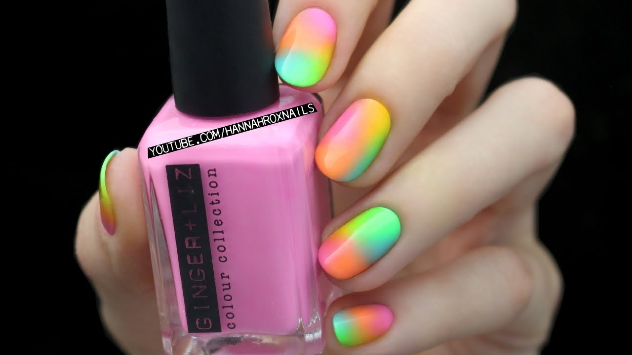 Beautiful Neon Ombre Nail Art Design Idea