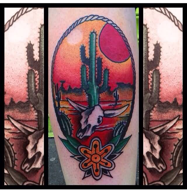 Cactus circle tattoo pictures to pin on pinterest tattooskid for Arizona desert tattoo