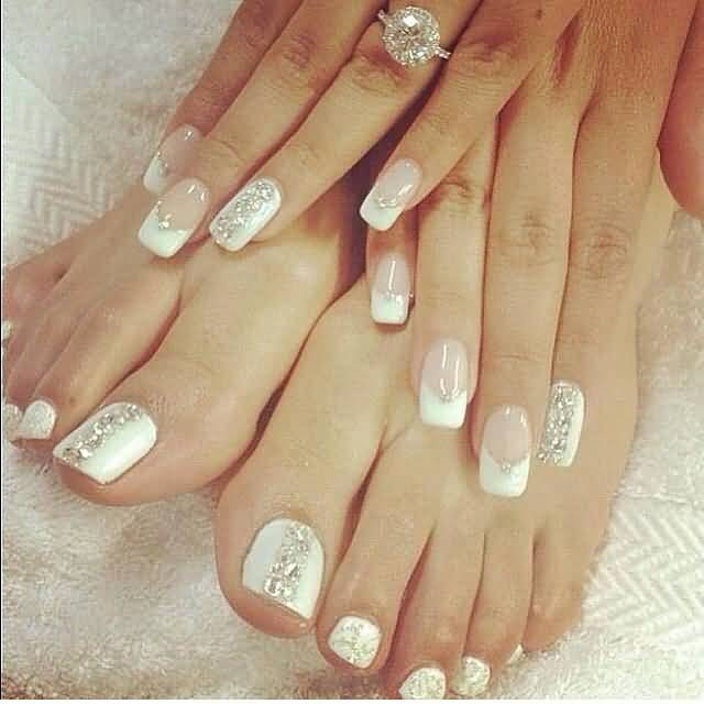 Beautiful Wedding Toe Nail Art With Gemstones