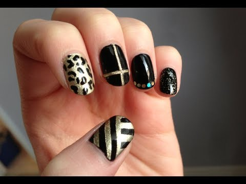 Black And Gold Design Nail Art