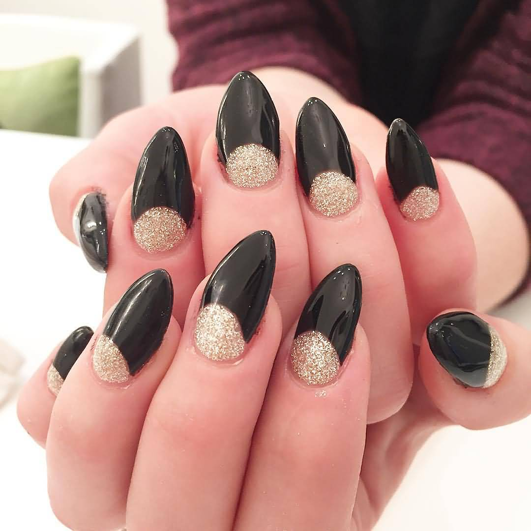 Black And Golden Stiletto Nail Art Design