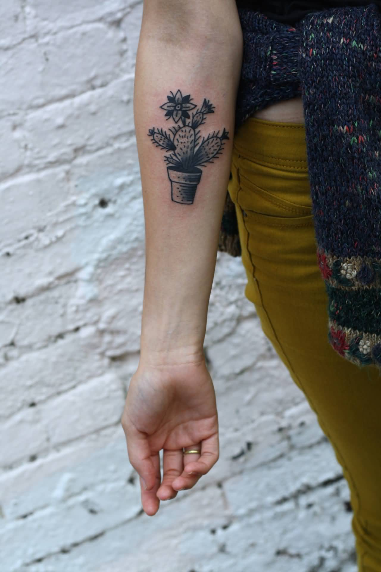 50f4532b43a2c Black And Grey Cactus In Simple Pot Tattoo On Forearm
