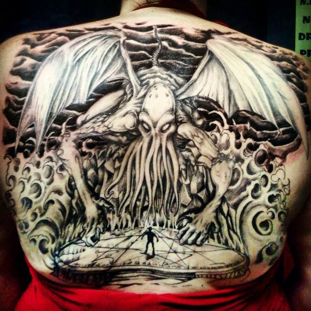 Black And Grey Cthulhu Tattoo On Back For Men By Effieboneata