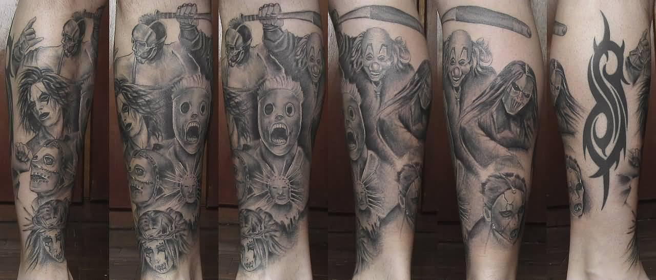 3d black and white slipknot logo tattoo on right half sleeve for Tattoos slipknot logo