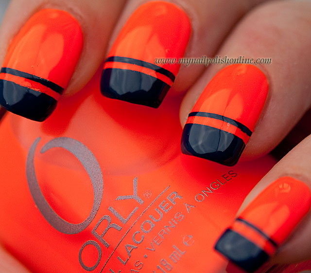 Black And Orange Neon Nail Art Design