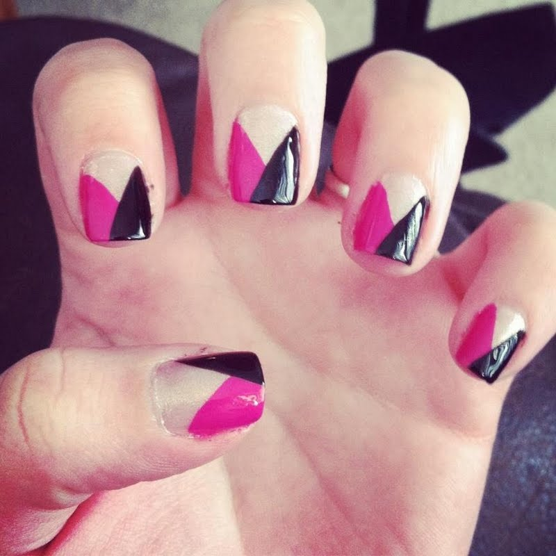 51 Most Stylish Black And Pink Nail Art Design Ideas