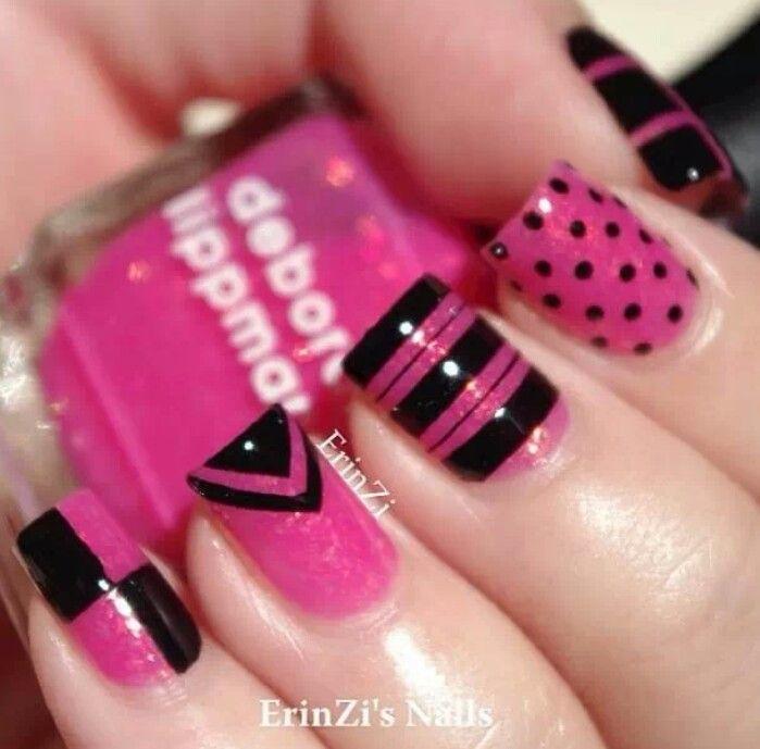 Black And Pink Nail Art Designs - 51 Most Stylish Black And Pink Nail Art Design Ideas