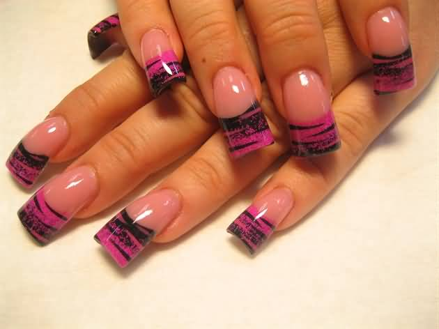 Black And Pink French Tip Nails 51 Most Stylish Black ...