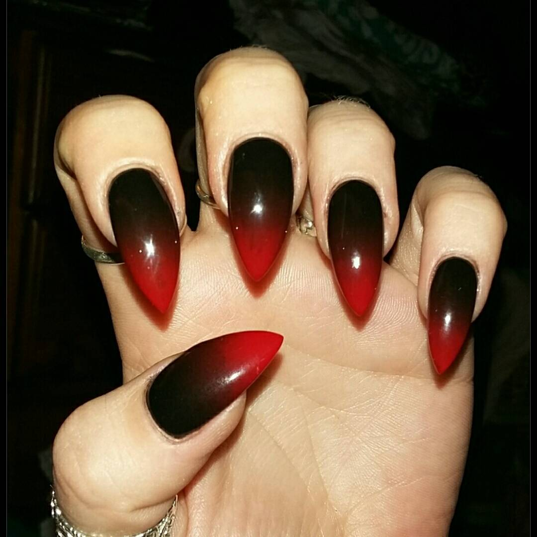 Black And Red Ombre Pointed Nails Design Nail Art