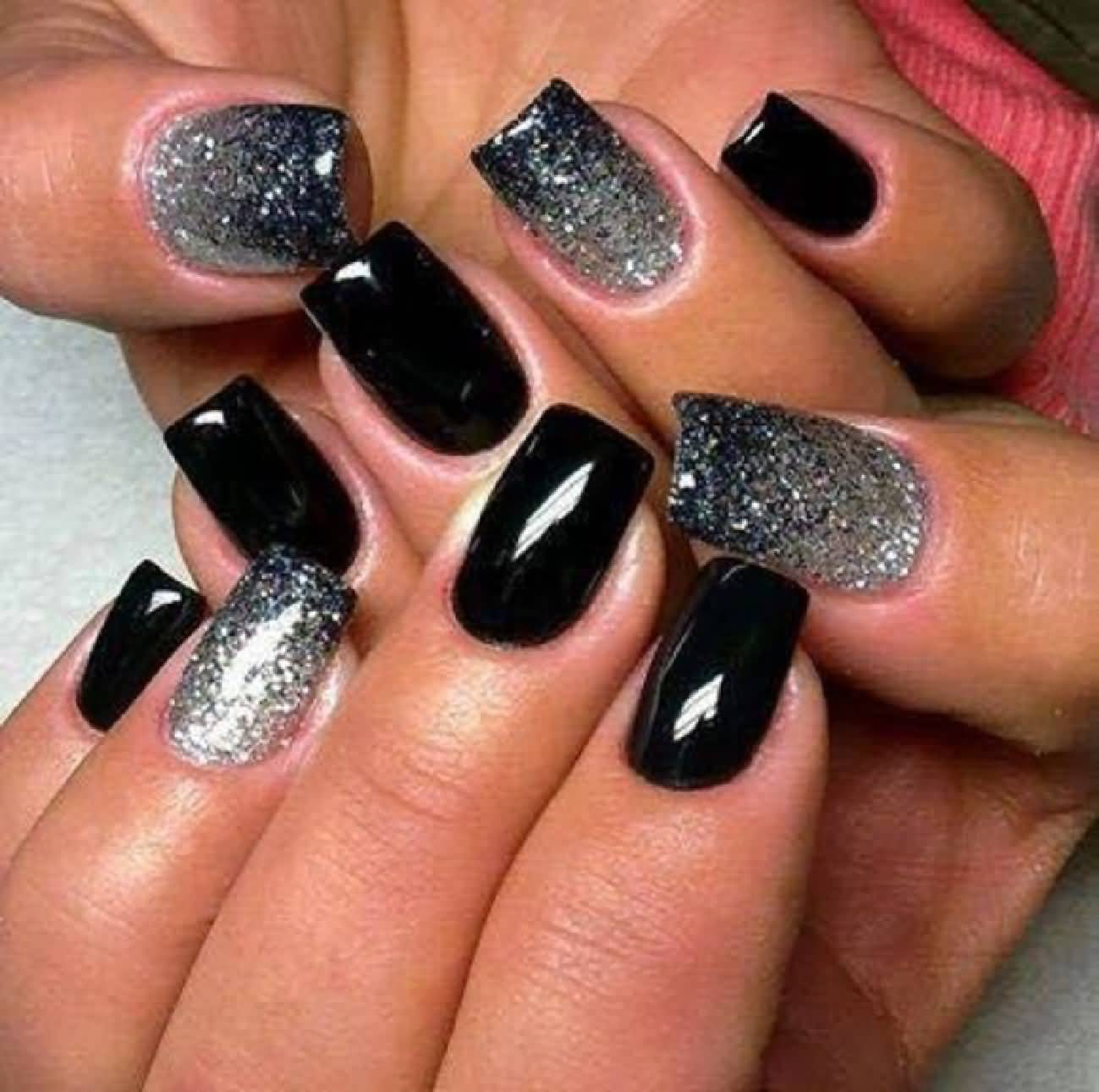 Black And White Glitter Nail Art - 55 Latest Black Nail Art Design Ideas