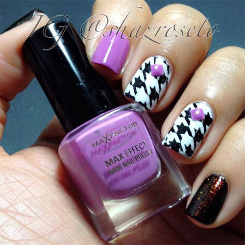 Black And White Houndstooth Nail Art With Purple Caviar Beads Design