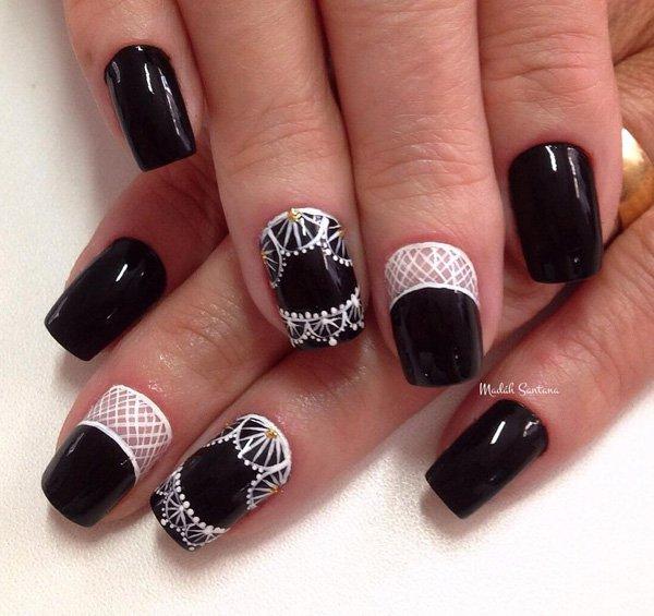 Black Nail Art: 55 Latest Black Nail Art Design Ideas