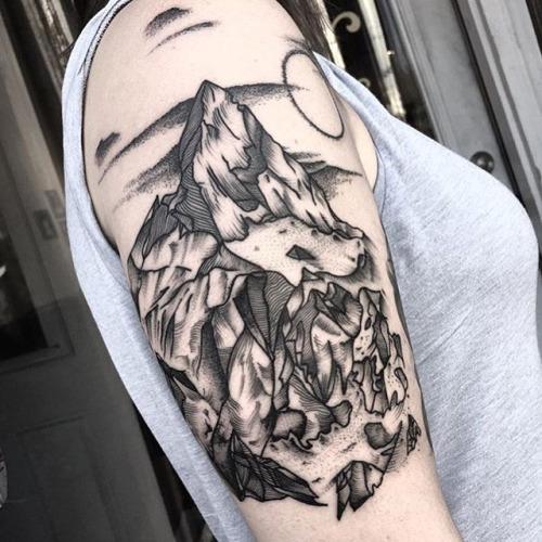 Dotwork Small Mountains Tattoo On Wrist