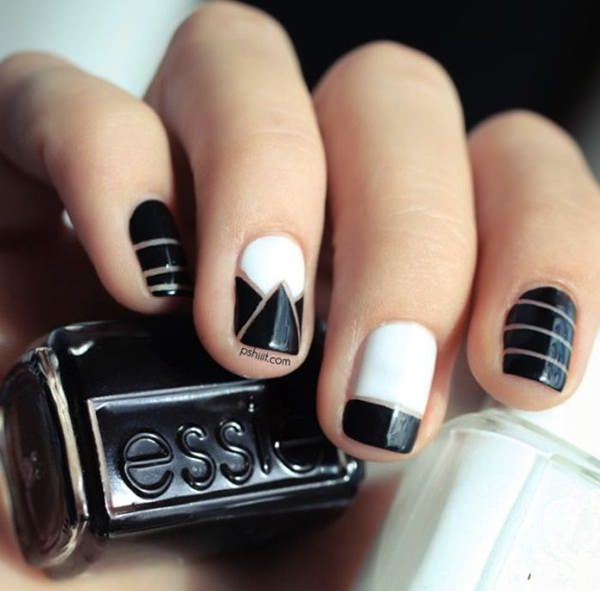 Black And White Nail Art Design Idea