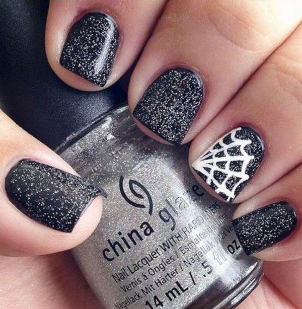 Black And White Sparkle With Accent Spider Web Halloween Nail Art