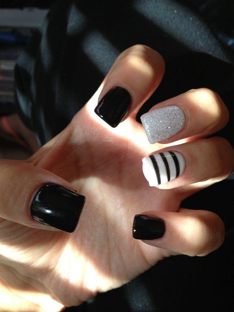 55 latest black nail art design ideas black and white stripes design nail art idea prinsesfo Gallery