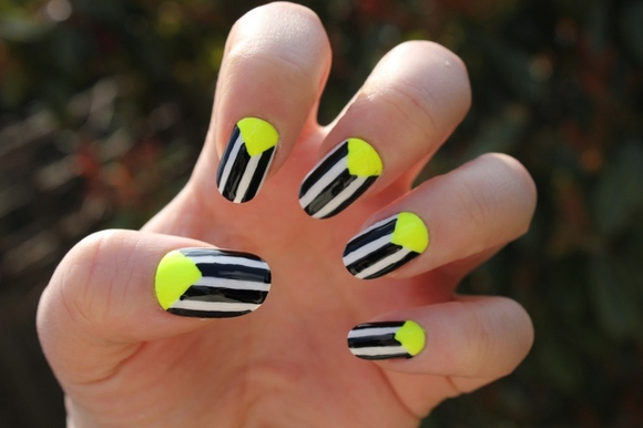 Black And White Stripes Design Reverse French Neon Nail Art
