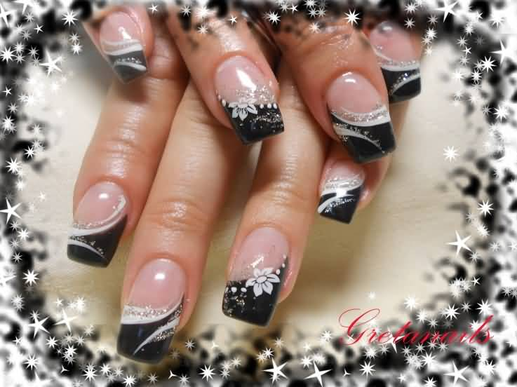 Black And White Stripes French Tip Nail Art - 45 Cool Black French Tip Nail Art Designs For Trendy Girls