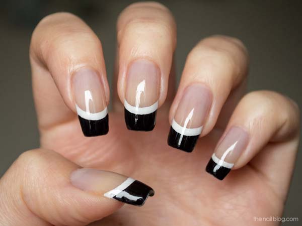 45 cool black french tip nail art designs for trendy girls black and white tip nail art design prinsesfo Image collections