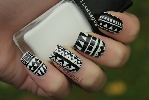 Nail art design 2015 black and white